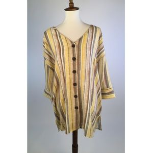 Fred David Womens Blouse Top 1X 18W Yellow C35-11Z